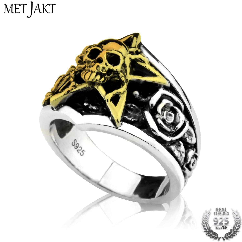 MetJakt Vintage Punk Golden Pentagram Skull Ring & Hand Carved Rose Solid 925 Sterling Silver Ring for Men Custom Jewelry