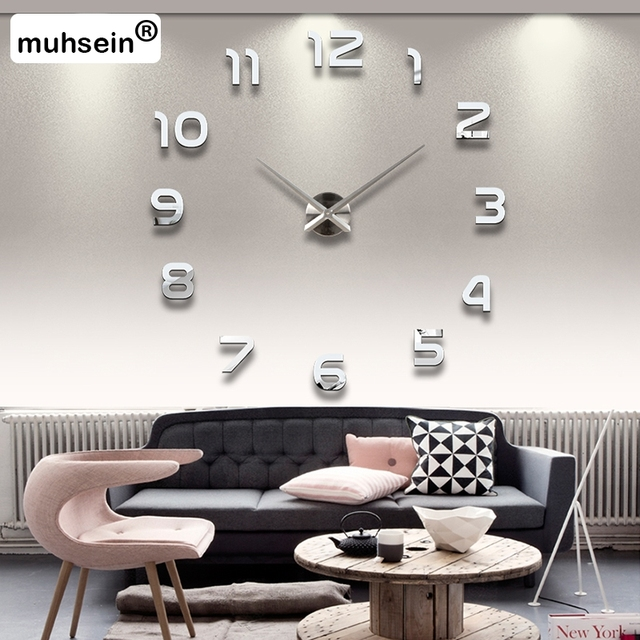 2016 New Metall Moderne 3D DIY Wall Clock Acrylic+EVR+Metal Mirror Home Decoration Super Big 130cm x130 cm Factory Freeshipping