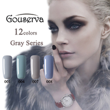 Venta caliente Sana y Eco-friendly12Colors Gris Serie Lucky UV Gel Nail Polish Soak Off Gel esmalte de Uñas Envío Gratis Gouserva