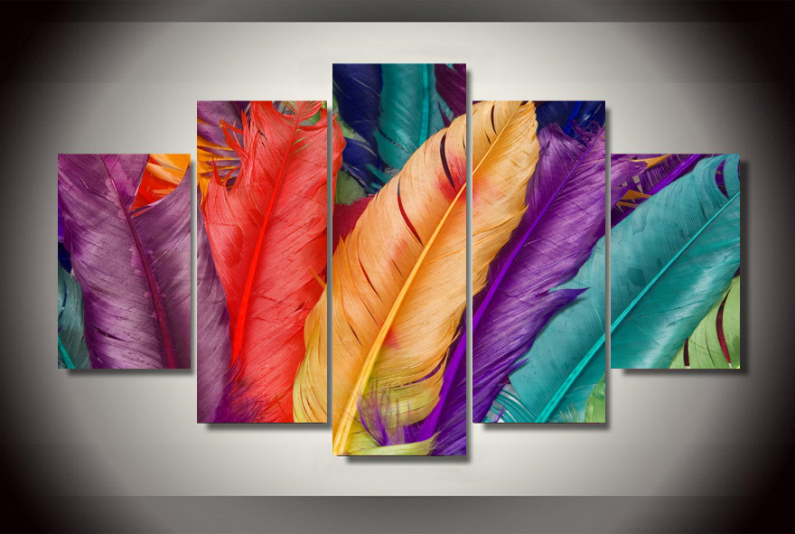 HD Printed Colored feathers Painting on canvas room decoration print poster picture canvas Free shipping/ny-2899