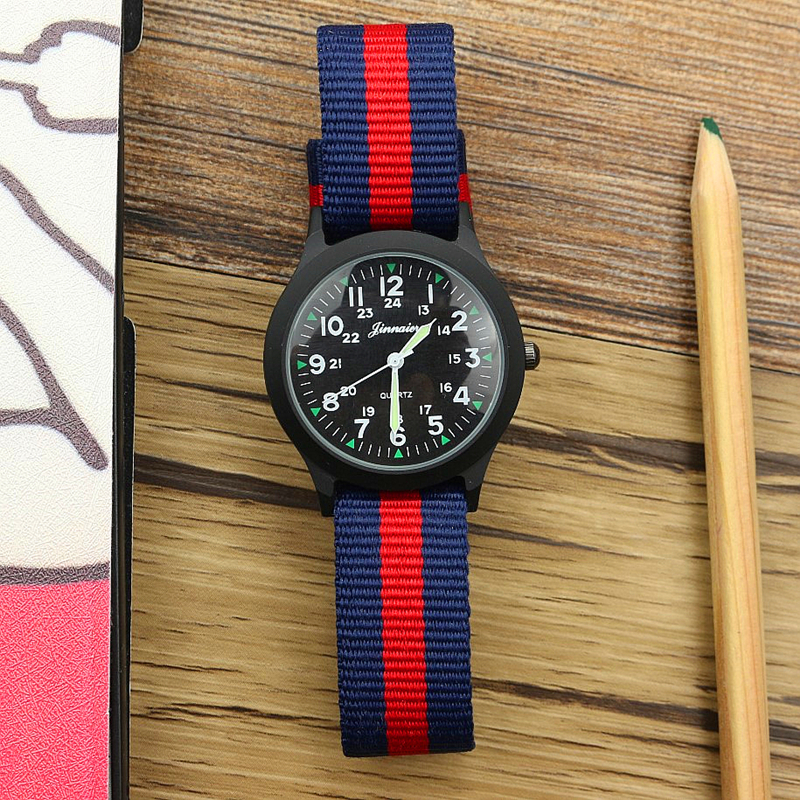 New Fashion Boys And Girls Outdoor Sports Army Watch Cute Luminous Hands Middle Student Colorful Nylon Casual Child Gift Clock(China)
