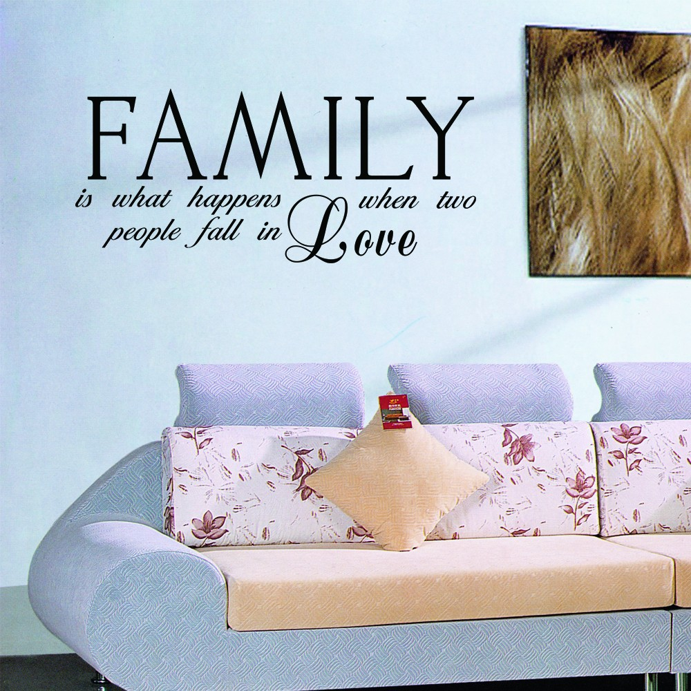 Romantic Quote - Family Is What Happens When Two People Fall Love - Family Wall Decal Anniversary Vinyl Art Decor 52 x 22 L