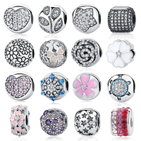 Authentic 925 Sterling Silver Bead Charm Crystal Stopper Clips Lock Beads Fit Women Pandora Bracelets Bangles