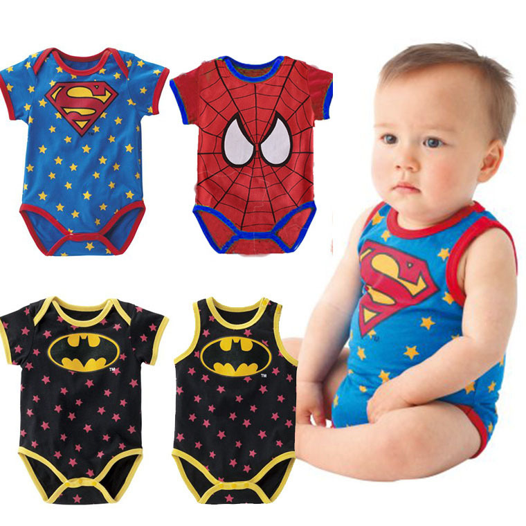 Newborn Baby Cotton   Rompers   Star Superman Batman Hero Jumpsuits Infant Baby boy's Girls Cloth Custume Playsuits Overall
