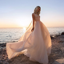 цена на LORIE Wedding Dress Cap Sleeves 2019 Vestidos de novia High Neck Informal Bridal Dress Top Lace Backless Beach Wedding Gowns
