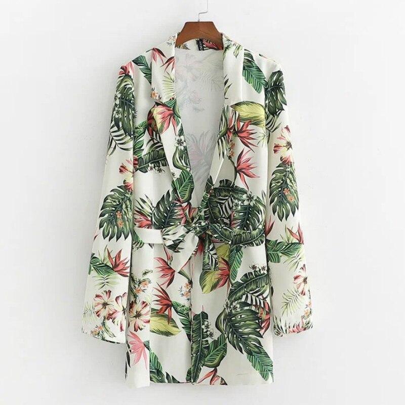 Повседневный женский пиджак с длинными рукавами модный кружевной принт длинный пиджак женский тонкий слой темперамент пиджак 2019