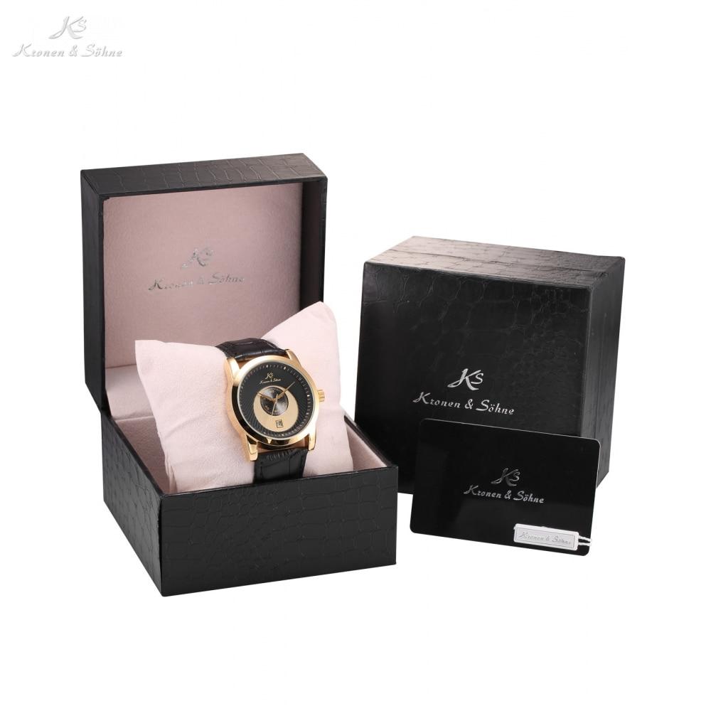 Luxury Gift Box KS Brand Automatic Mens Business Mechanical Watch Date Relogio Self Wind Leather Band Gift Wristwatch /KS327-031 цены онлайн