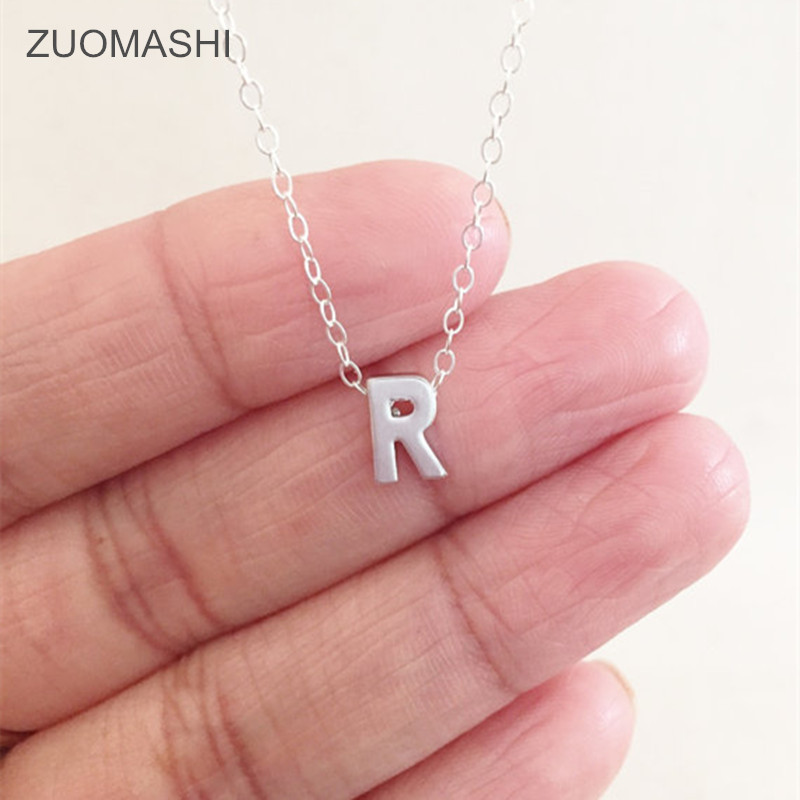 Fashion Alphabet Pendant Necklace Silver plated letter necklace initials name for women girls .best birthday gift  necklace