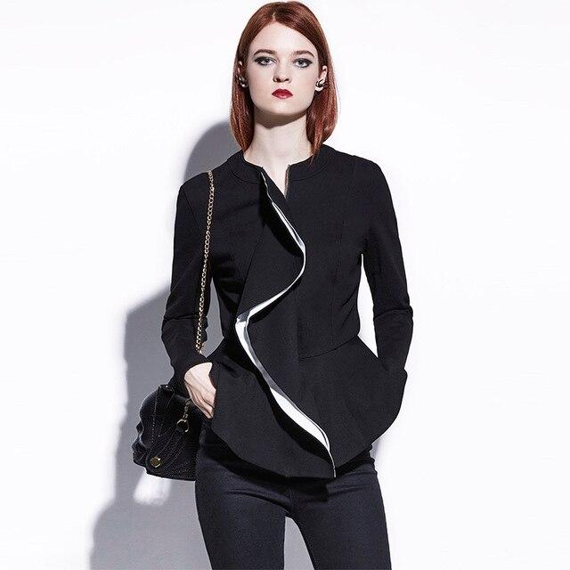 Sisjuly Gothic Mantel Frauen Herbst Rüschen Schößchen Kurzes Dünne  Oberbekleidung Schwarze Jacke Reißverschluss Gothic Fashion Mäntel 559ac42221