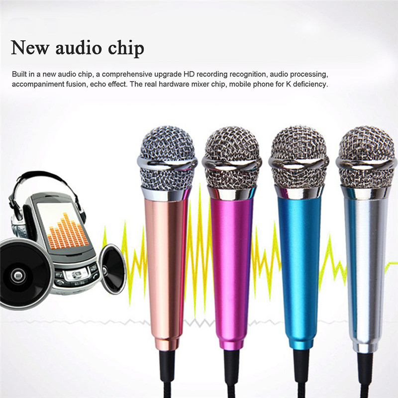 Для iPhone, Android, всех смартфонов, ноутбуков, портативный мини микрофон, стерео, караоке, запись звука, разъем 3,5 мм