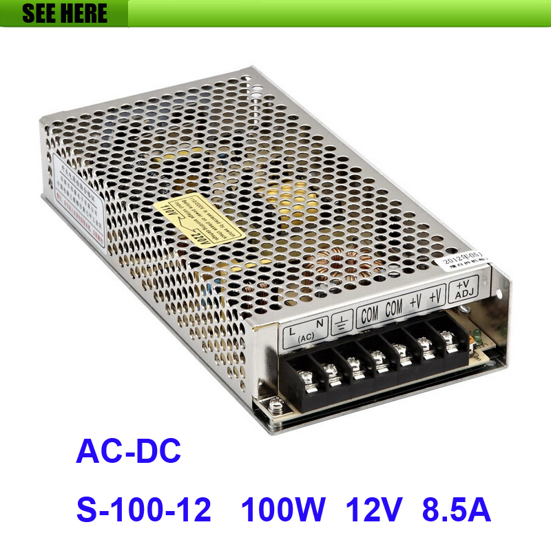 Free Shipping Universal 12V 8.5A 100W Switch Power Supply Driver Switching For LED Strip Light Display 110V 220V S-100-12 12v 3 2a 40w switch power supply driver for led light strip 110v 220v