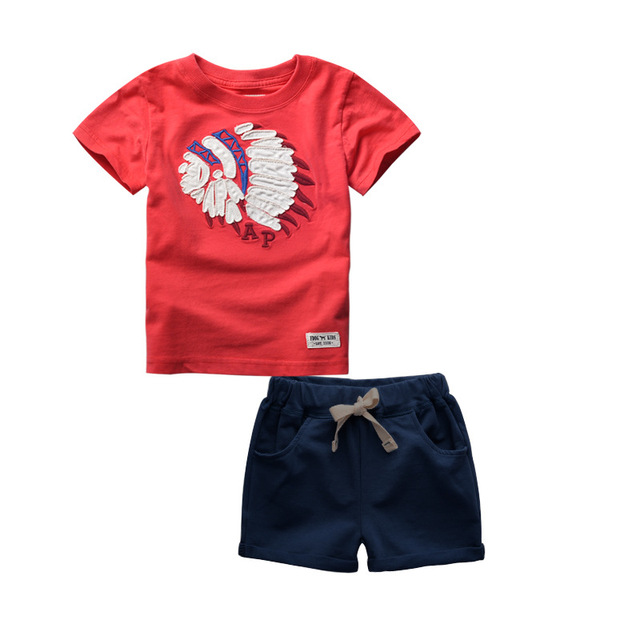 New Summer Fashion Kids Short Sleeve T-shirt and shorts Suit Children's Clothing Cartoon Pattern Boys Clothes Set Tracksuit