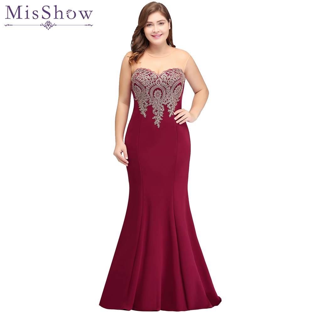 Cheap 2019 burgundy Mermaid Evening Dress Plus Size Gold Appliques Long Formal Women Party Gowns Dresses