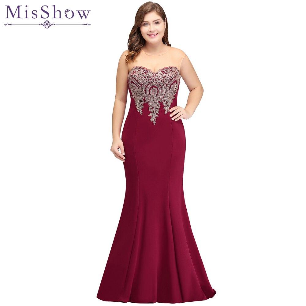 Cheap 2019 burgundy Mermaid   Evening     Dress   Plus Size Gold Appliques Long Formal Women Party Gowns   Dresses   Robe De Soiree Longue