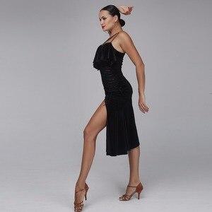 Image 4 - فستان رقص لاتيني للنساء فستان بنمط لاتيني ملابس سامبا لباس السالسا لباس ممارسة لاتيني ملابس رقص أسود مخملي ملابس رقص