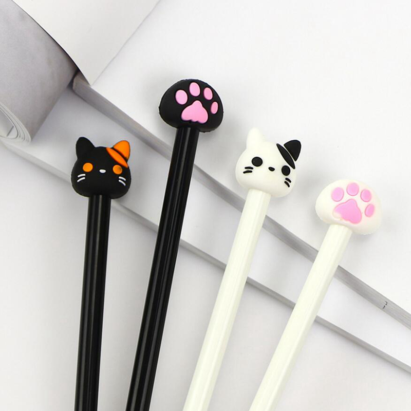 4 Pcs/Set2018 Cute Cat Gel Pen Kawaii School supplies Student Stationery Photo Album 0.5mm Black Ink Pen for Office Suppliers x33 cute kawaii lifelike silicone carrot gel pen writing signing pen school office supply student stationery kids gift