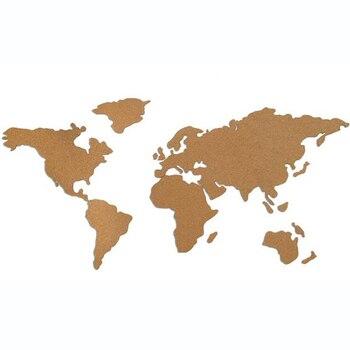 Carte du mon papier de liège, bois de liège, carte du monde murale, carte de la maison pour l'école, épingles en carton, carte en bois