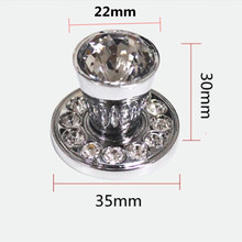 modern fashion luxury Transparent crystal drawer shoe cabinet knob pull chrome shiny silver Rhinestone kitchen cabinet handle