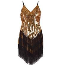 Новинка, женское модное платье без рукавов с v-образным вырезом и кисточками, украшенное блестками, 1920 s, платье для латинских танцев, платье Гэтсби