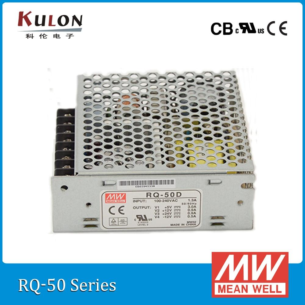 Original Mean Well RQ-50D 50W Quad output 5V/12V/24V/-12V Meanwell Power Supply original meanwell ned 50b dual output 50w 5v 24v mean well power supply