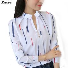 Women Shirts New 2018 Summer lady Elegant Shirt Chiffon Blouse Striped Long sleeve office Ladies Fashion Tops Femme Xnxee