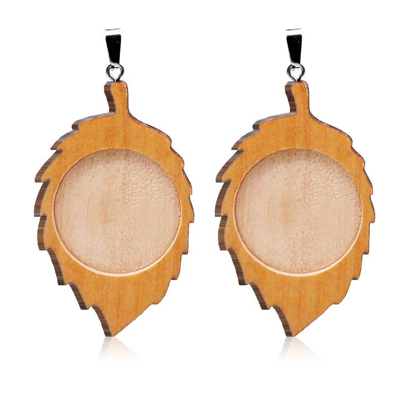 Aiovlo 10 unids/lote madera cabujón Base ajuste 25mm en blanco de madera colgante, bandejas colgantes Diy accesorios de joyería para el collar