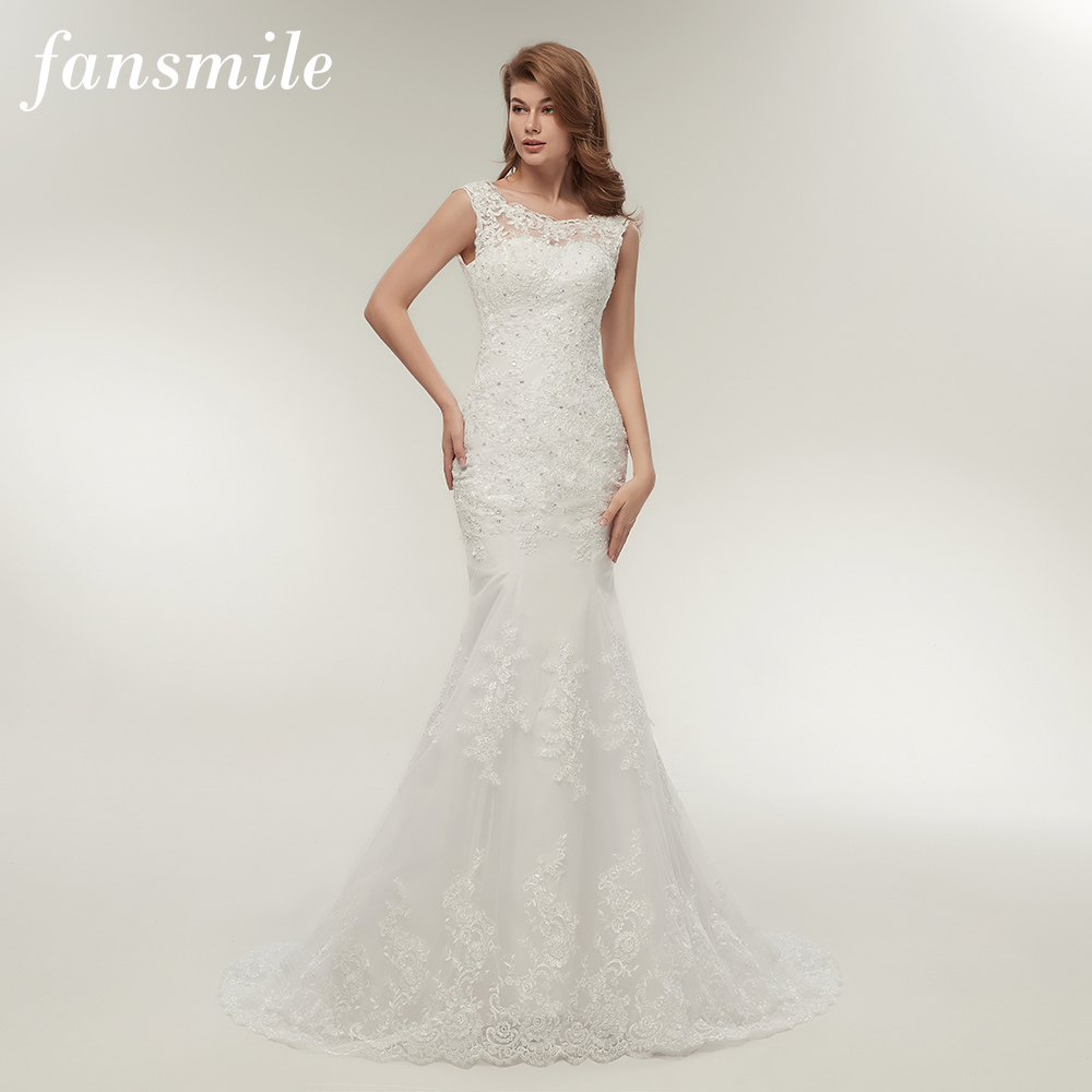 Fansmile New Arrival Lace Mermaid Wedding Dresses 2019 Plus Size Bridal Alibaba Wedding Gowns Real Photo Free Shipping FSM-144M