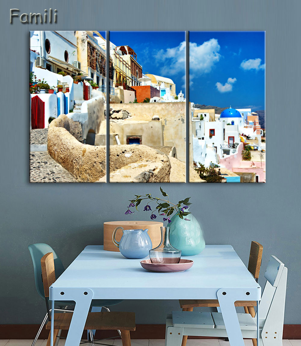 3 Piece Hot Sell Modern Wall Painting Art Picture Paint on Canvas Prints The classic beauty of the Greek island of Santorini image