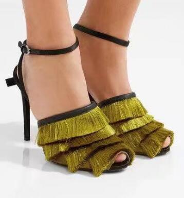 Real Photo Hot Selling Green Tassel High Heel Sandals Cut-out Ankle Strap Mixed Color Party Dress Shoes Sexy Gladiator Sandals  hot selling denim blue ankle strap buckle high heel sandals cut out thick heel gladiator sandals for women summer dress shoes