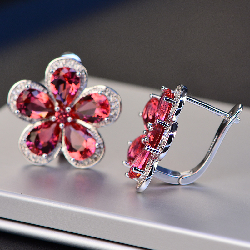 PANSYSEN Luxury Flower Design Ruby Gemstone Clip Earrings for Women Solid 925 Sterling Silver Jewelry Wedding Christmas Gifts