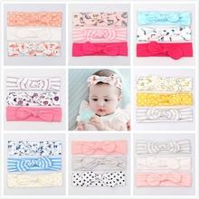 3pcs/set Popular Lovely Rabbit Ear Elastic Headband Cotton Bowknot Hair Band Headwear for little Girls Flower Hair Accessories цены