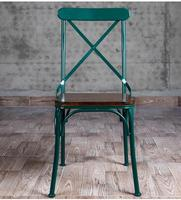Vintage Old Bar Iron Dining Chair Real Wood Dining Tables Cross Back Chairs