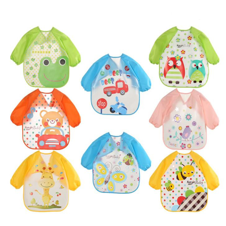 2018 new arrive baby bibs EVA kid eating clothing children's long sleeves Feeding Smock dining wear baby apron QD41