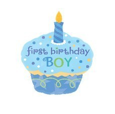 Aluminum Foil First Birthday Cake Gift Balloons For Baby Boy Blue 1pc 1 Year Old