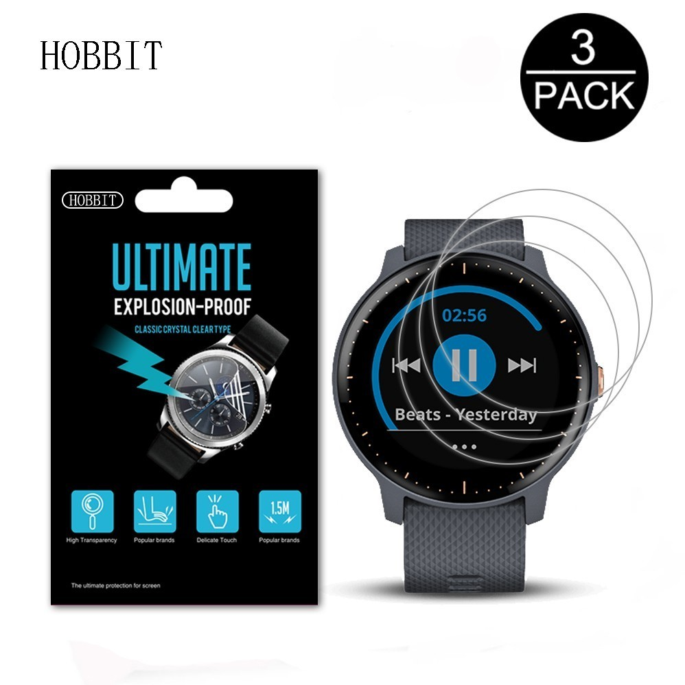 3Pack For Garmin Vivoactive 3 Music Anti-scratch Anti-bubbles Screen Protector GPS Smartwatch Explosion-Proof Cover Film
