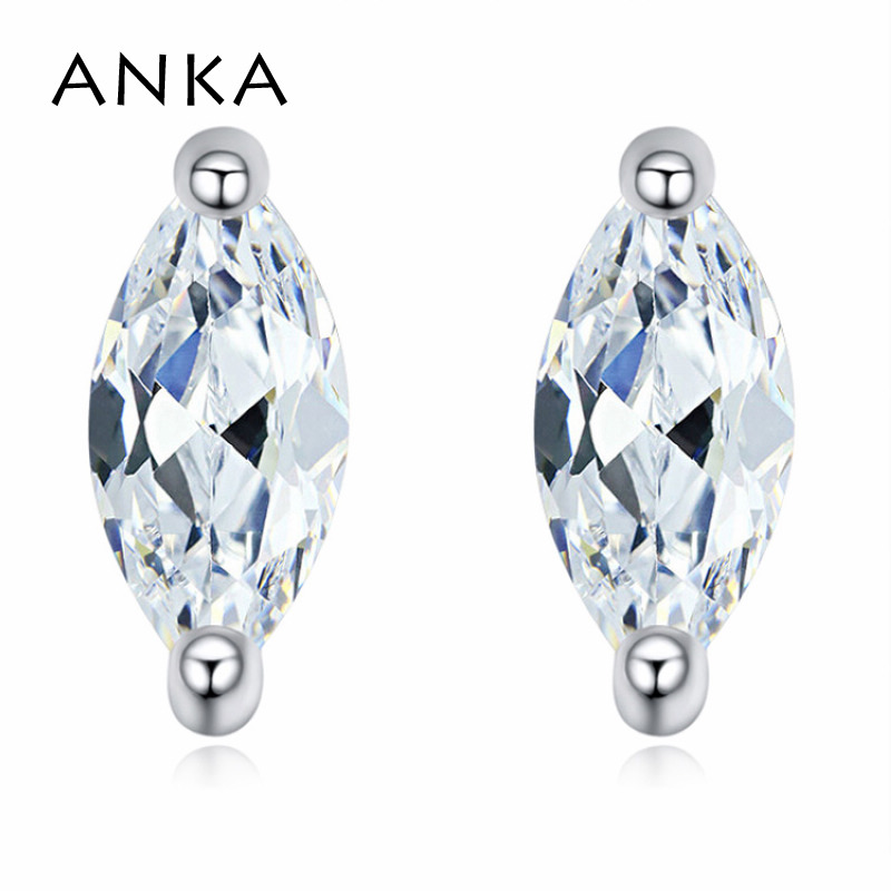 ANKA top zirconia charm ellipse shape wome stud earrings new luxury rhodium plated water earrings fashion Jewelry #122673