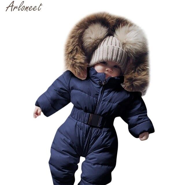 ARLONEET Infant Boys Girls Snowsuit Solid New Born Babies Winter Coat Carter Newborn 0-12 Months Baby Clothes Winter Baby Coats