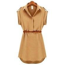 Women Ladies A-Line Cotton Casual OL Dress With Belt Plus Size Dress Women's Clothing