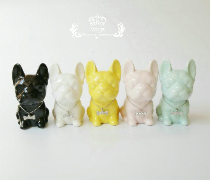 ceramic Bulldog home decor crafts room decoration ceramic French Bulldog ornament porcelain animal figurine decoration