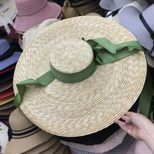 axi-green ribbon European show style summer handmade paper wind brim leisure beach lady cap women sun hat