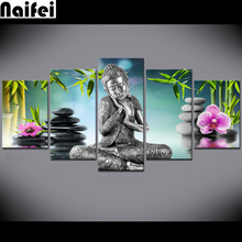 diy 5d full resin diamond painting 5 Piece Buddha orchid Bamboo Water Zen Wall ,decoration,diamond embroidery