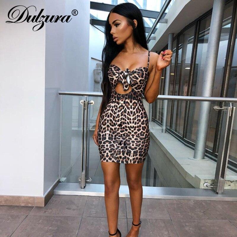 Dulzura imprimé léopard cravate avant moulante Fit femmes sexy robe 2019 sexy femmes tenues découpées sans manches mini robes de soirée