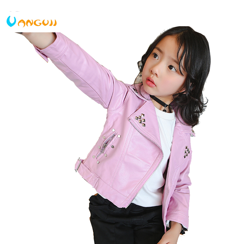Fall 2017 winter hot PU jacket for children, 2-7 year old girl, fashion rivet belt, lapel leather, motorcycle leather jacket
