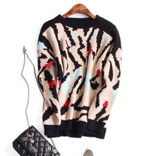 Europe and the United States women's new autumn 2016 Fashion leopard sets long sleeve knit loose sweaters