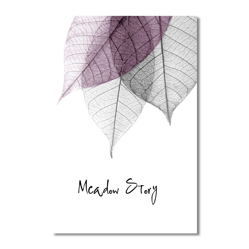 Modern Simple Small Fresh Leave Decorative Painting Modular Picture Wall Art Canvas Painting for Living Room No Framed in Painting Calligraphy from Home Garden
