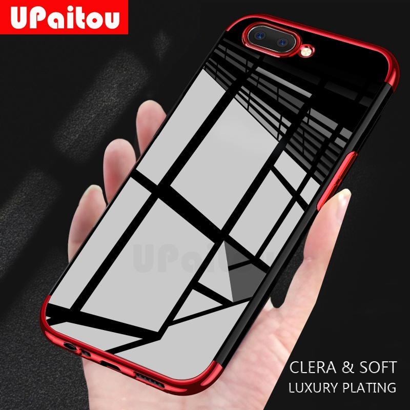 UPaitou Luxury Plating Case for OPPO A7 A7X AX7 AX5 A3 A3S A1 TPU Soft Silicone Clear Frame Transparent Back Cover Case