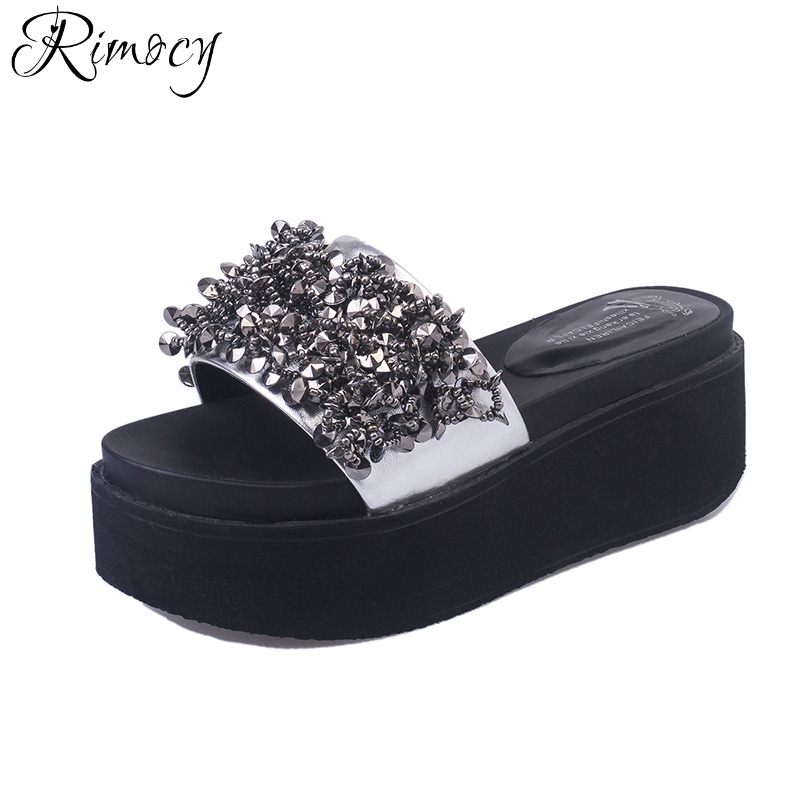 Rimocy high platform heels sandals for women summer 2018 beach casual flip flops woman Slip Resistant flat with Slippers mujer стоимость