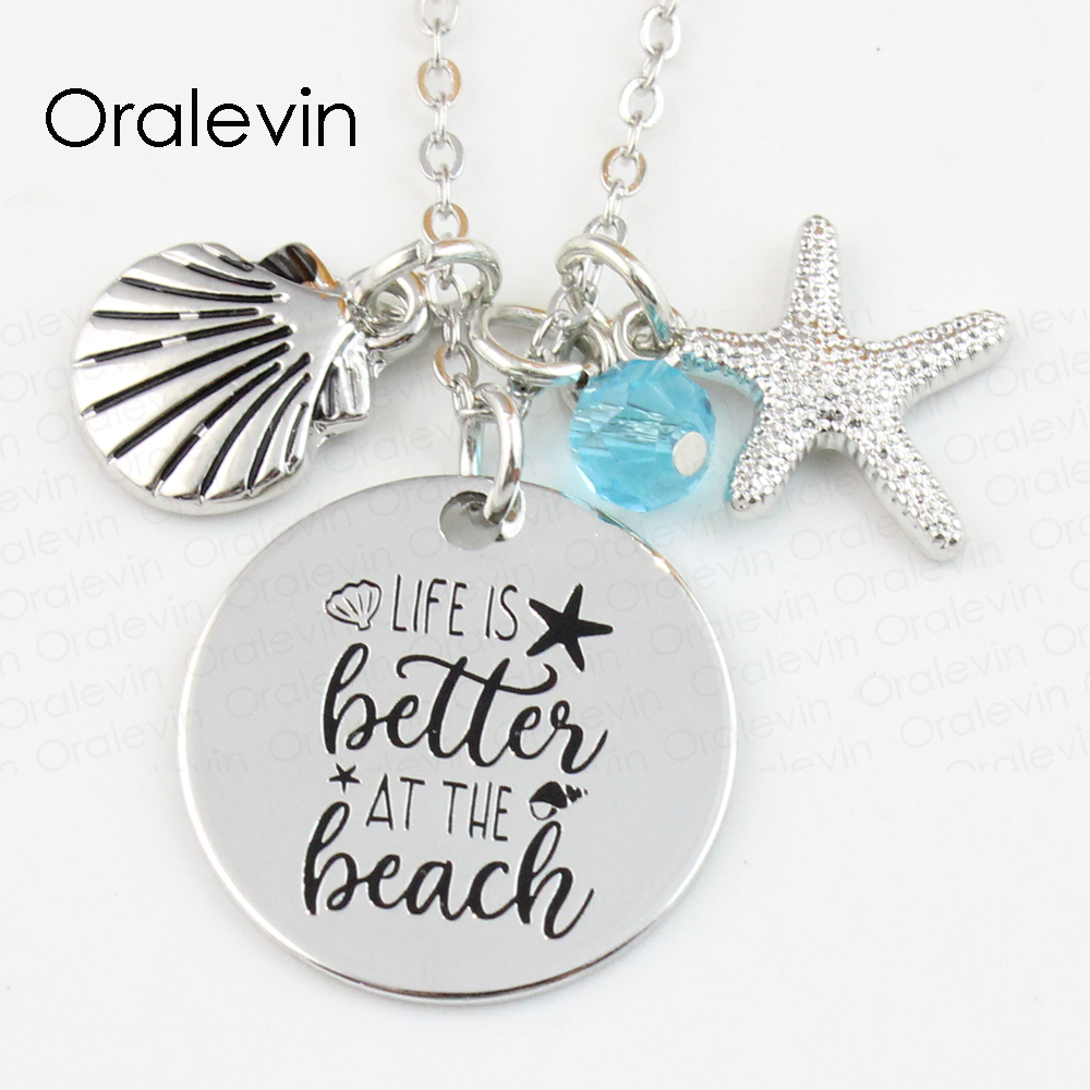 Wholesale LIFE IS BETTER AT THE BEACH Engraved Disc Pendant Charms Necklace Lover Gift Jewelry 10Pcs/Lot,#LN125