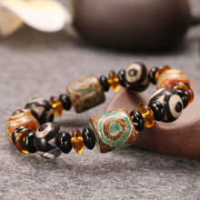 Sangsy Free Shipping Mixed Natural Round Beads Crystal with Traditional Tibetan Charm Carnelian Stretch Bracelet Lucky