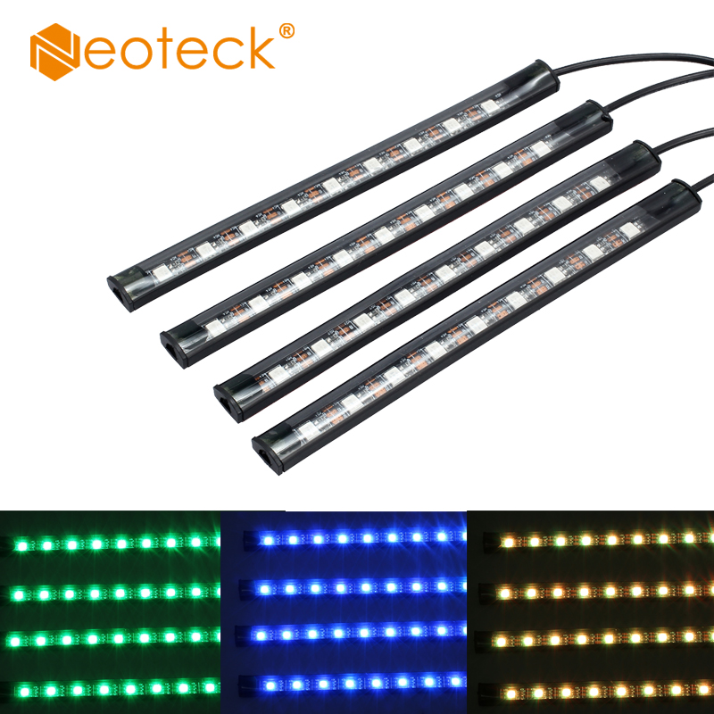 Neoteck 4PCS USB Car Interior RGB color LED Strip Light Atmosphere Decorative SMD Neon Lamp SMD 5050 Car Decorative Strip Light цена